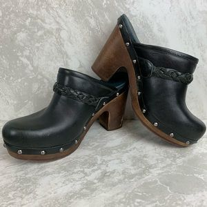 Ugg Size 7 Black Studded Leather Clogs with heel